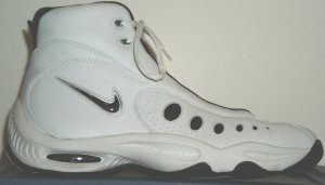 Nike Air Afterburner High basketball shoe, white with black SWOOSH and trim