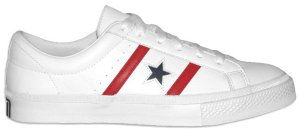 Converse Academy (leather All-Star reissue), white leather with blue star and red stripes