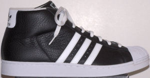 adidas Promodel high-top basketball shoe (black, white stripes and trim)