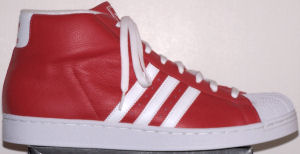 adidas Promodel high-top basketball shoe (red, white stripes and trim)