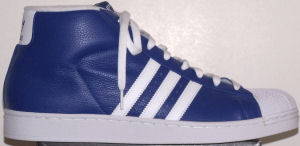 adidas Promodel high-top basketball shoe (blue, white stripes and trim)
