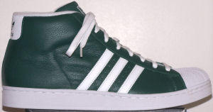 adidas Promodel high-top basketball shoe (forest green, white stripes and trim)