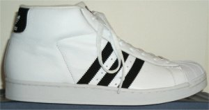 adidas Promodel high-top basketball shoe (white, black stripes and trim)