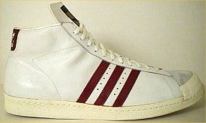 adidas Promodel high-top basketball shoe (white, red stripes and trim, partial shell-toe)