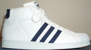 The adidas Promodel high-top basketball shoe: white with dark blue stripes