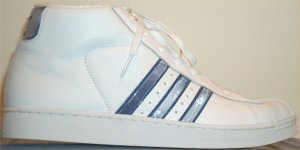 adidas Promodel high-top basketball shoe (white, shiny gray and blue stripes and trim)