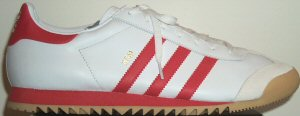 adidas ROM leather track training shoe: white with red stripes and trim