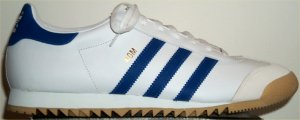 adidas ROM leather track training shoe: white leather, satellite blue trim and stripes