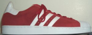 adidas Superstar basketball sneaker, red suede with white stripes and trim
