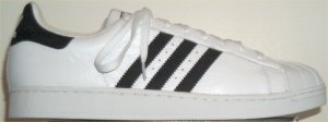 adidas Superstar basketball shoe, white with black stripes and trim