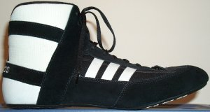 adidas Mondial wrestling shoe, black with white stripes and trim