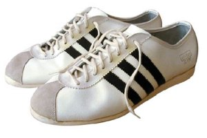 "adidas ""Gym"" sneaker, white leather with black stripes"