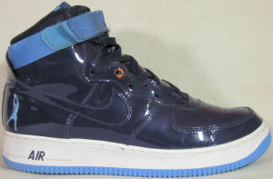 Nike Air Force I high-top, Rasheed Wallace version, dark blue patent leather with dark blue SWOOSH and lighter blue strap and outsole