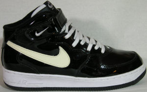 Nike Air Force I mid-top, black patent leather with white SWOOSH