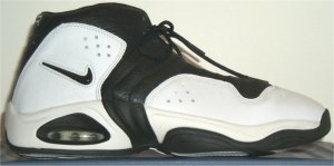 Nike Air C14 basketball shoes, white with black trim and SWOOSH