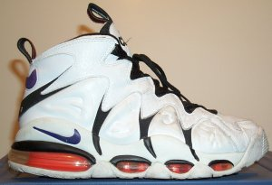 Nike Air CB-34 basketball sneaker, white with black and red-orange trim and purple SWOOSH
