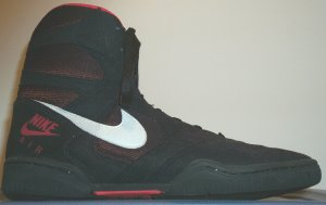 Nike Air Reversal wrestling shoe, black and red with white SWOOSH