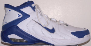 Nike Air Uptempo Game basketball shoe, white with blue trim