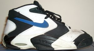 Nike Air Up Mid basketball shoe: white and black wiht blue SWOOSH