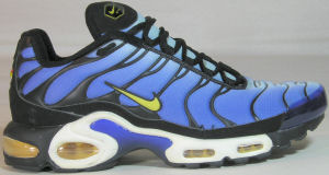 Nike Air Max Plus running shoe, blue with black and yellow trim