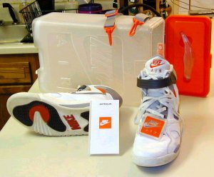 Nike Air Pressure high-top basketball sneakers with carrying case