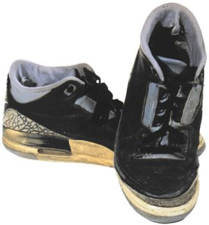 Air Jordan 3 basketball shoe, black with gray trim and artificial iguana skin