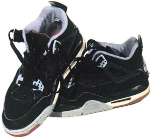 Air Jordan 4 basketball shoe, black with gray trim