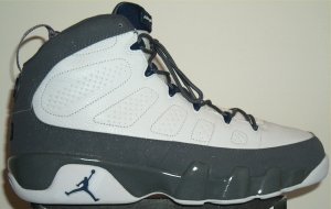 Air Jordan 9 in white with gray and blue SWOOSH (Washington Wizards colorway)