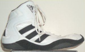 adidas Akrid wrestling shoe in white with black stripes