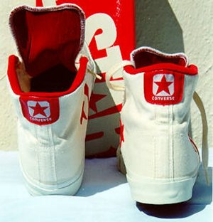 Back view of red Converse All Star II high-tops