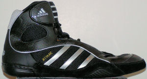adidas A'ttaak wrestling shoe: black with silver stripes and trim