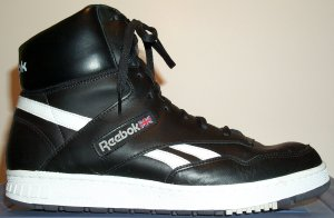 Reebok BB4600 classic basketball sneaker: black leather, white trim