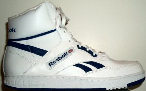 Reebok BB4600 classic basketball sneaker: white leather, blue trim