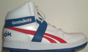Reebok BB5600 classic basketball sneaker: white leather with red and blue trim