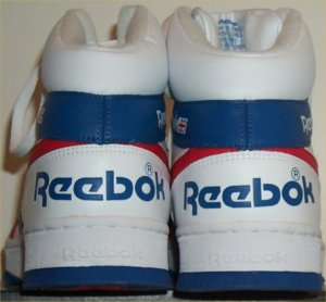 Reebok BB5600 classic basketball sneaker: heel view of large Reebok wordmark