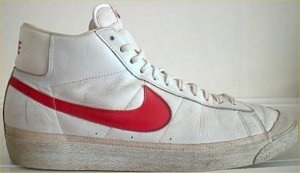 Nike Blazer high-top basketball shoe: white leather, red SWOOSH