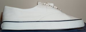 White canvas duck deck sneaker from Pier 54 (store brand of Academy Sports and Outdoors)