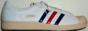 The adidas Wilhelm Bungert tennis shoe, white leather with blue - red - blue stripes