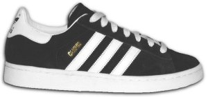 adidas Campus retro basketball shoe in black with white stripes