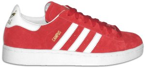 adidas Campus retro basketball shoe in red with white stripes