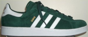 adidas Campus retro basketball shoe in forest green with white stripes