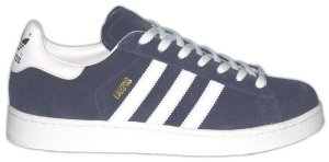 adidas Campus retro basketball shoe in blue with white stripes