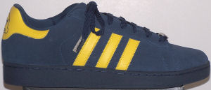adidas Campus ST retro basketball shoe in dark blue with yellow stripes