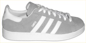 adidas Campus retro basketball shoe in gray with white stripes