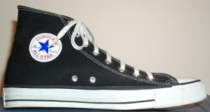 "Black high-top Converse ""Chuck Taylor"" All Star basketball shoe (SKU 1-9160)"