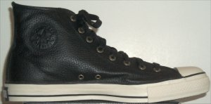 "Converse ""Chuck Taylor"" All Star black bomber leather high-top sneaker"