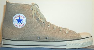 Converse All Star Hemp Hi sneaker in Khaki, Chuck patch side