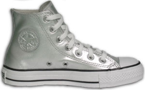 "Converse ""Chuck Taylor"" All Star high-top sneaker in silver metallized fabric"