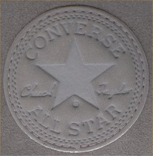 Enlarged view of gray suede All Star ankle patch
