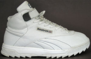 Reebok Classic Exertion Ripple Mid fitness shoe for guys in white, side view